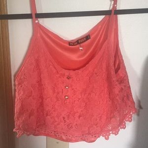 Tops - Coral crop top